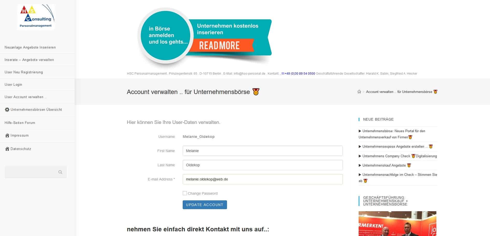 Portale Unternehmensbörse Account verwalten