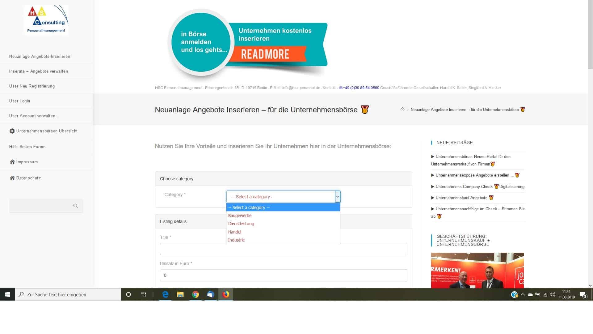 Portale Unternehmensbörse Neuanlage Category auswählen
